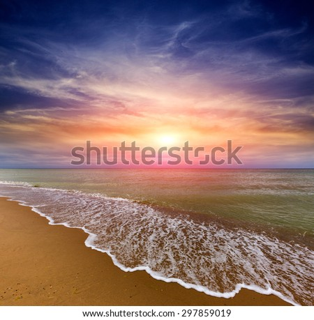 Nice evening scene with sunset over sea - stock photo