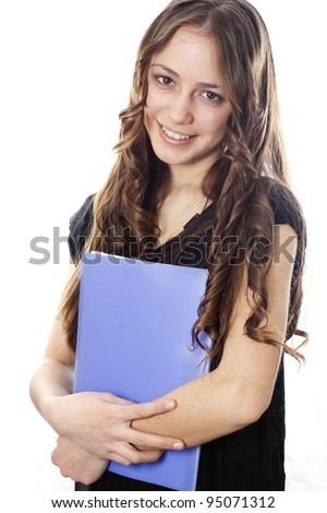 Nice executive secretary holding a working folder - stock photo