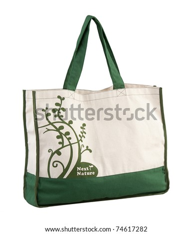 Nice fabric bag, reuse to reduce garbage  isolated on white background - stock photo