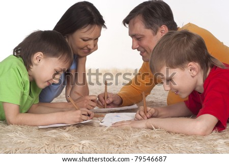 nice family drawing on a carpet on white