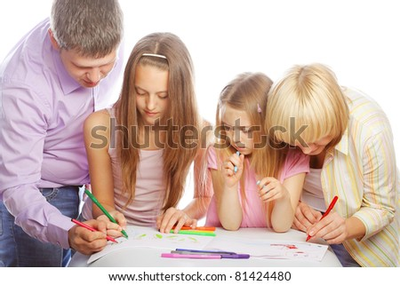 nice family drawing. studio shot. - stock photo