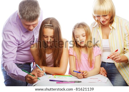nice family drawing. studio shot. - stock photo
