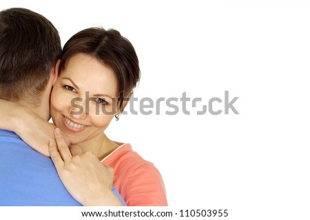 Nice family having fun in bright T-shirt on a white background - stock photo