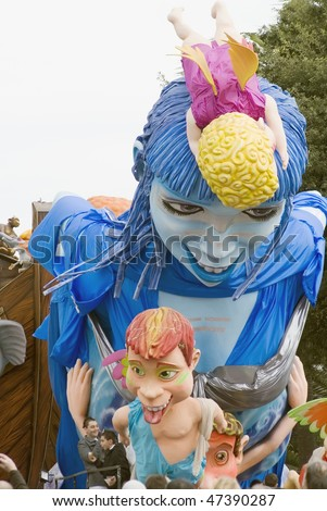 """NICE - FEBRUARY 21:  Carnival of Nice  on February 21, 2010 in French Riviera . This is the main winter event of the Riviera. 2010 topic is the """"Blue Planet"""". - stock photo"""