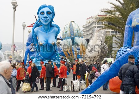 """NICE - FEBRUARY 27: Carnival of Nice on February 27, 2011 in French Riviera. This is the main winter event of the Riviera. 2011 topic is the """"King of Mediterranean Sea"""". - stock photo"""