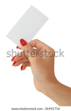 Nice female hand holding a blank business card