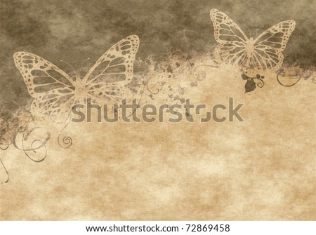 nice floral grunge illustration with butterflies on old parchment .old paper with floral pattern - stock photo
