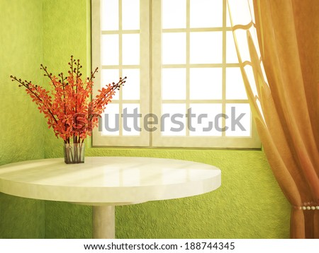 nice flowers are on the table near the window - stock photo