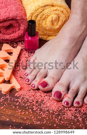 Nice foot composition in beauty studio - stock photo