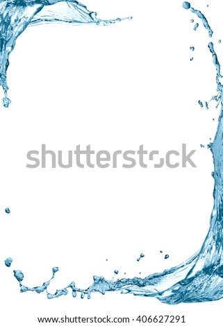 Nice frame made from splashing water on white background - stock photo