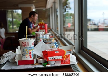 NICE, FRANCE - AUGUST 15, 2015: McDonald's restaurant interior. McDonald's is the world's largest chain of hamburger fast food restaurants, founded in the United States. - stock photo