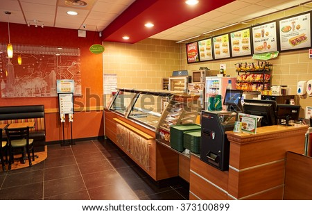 NICE, FRANCE - AUGUST 15, 2015: Subway fast food restaurant interior. Subway is an American fast food restaurant franchise that primarily sells submarine sandwiches (subs) and salads. - stock photo