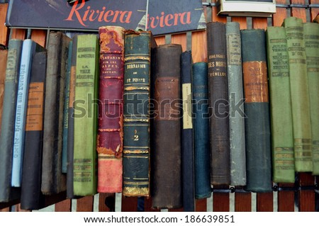 NICE, FRANCE - FEBRUARY 2: Ancient books of various authors in a book market in Nice, France on February 2, 2013