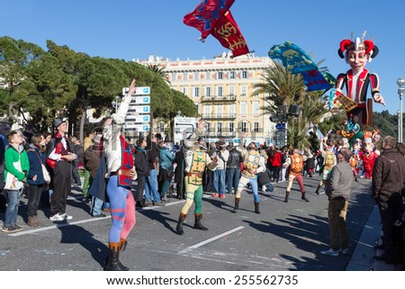 NICE, FRANCE - FEBRUARY 22: Carnival of Nice in French Riviera. The theme for 2015 was King of Music. Nice, France - Feb 22, 2015 - stock photo