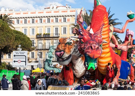 NICE, FRANCE - FEBRUARY 26: Carnival of Nice in French Riviera. This is the main winter event of the Riviera. The theme for 2013 was King of the five continents. Nice, France - Feb 26, 2013 - stock photo