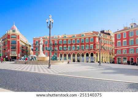 NICE, FRANCE - JAN 26, 2015: Scene of local and tourist in the Place Massena square in Nice, Provence-Alpes-Cote d'Azur, France. It is the main square of Nice - stock photo