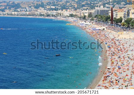 NICE, FRANCE - JULY 27, 2013: Aerial view of the Promenade des Anglais in as seen from the Castle Hill in Nice, France