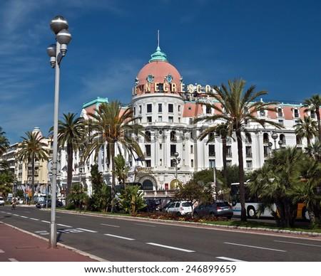 NICE, FRANCE - JUNE 6, 2014: Luxury Hotel Negresco on English Promenade in Nice, French Riviera. Hotel Negresco is the famous luxury hotel on the Promenade des Anglais in Nice.  - stock photo