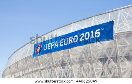 NICE, FRANCE - June 20, 2016: Nice stadium during the Eurocup 2016. Nice is one of the ten cities where the matches are played during the Euro 2016.