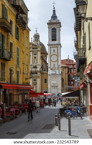 NICE, FRANCE - MAY 21, 2014: Bell Tower of Cathedral Basilica of St Mary and St Reparata, built between 1650 and 1699, history monument since 9 August 1906