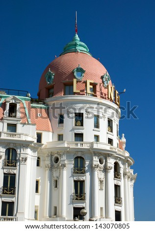NICE, FRANCE - MAY 4: Luxury Hotel Negresco on May 4, 2013 in Nice, France. Hotel Negresco is the famous luxury hotel on the Promenade des Anglais in Nice, a symbol of the Cote d'Azur.