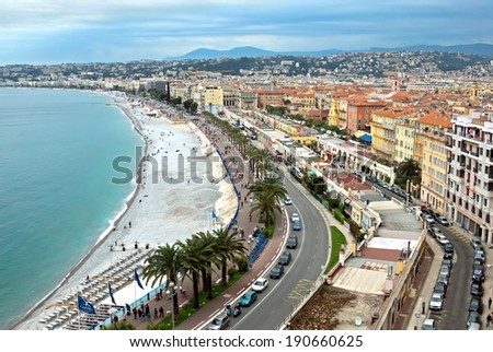 NICE, FRANCE - MAY 5: Promenade des Anglais from above on May 5, 2013 in Nice, France. It is a symbol of the Cote d'Azur and was built in 1830 at the expense of the British colony.
