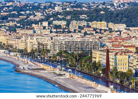 NICE, FRANCE - NOVEMBER 06, 2014: Architecture, Promenade des Anglais is a symbol of the French Riviera and was built in 1830 at the expense of the British colony. - stock photo