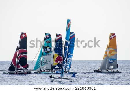 NICE, FRANCE - OCT. 5: second  and last day of cruises at the extreme 40 sailing competition, that has seen the victory of swiss team Alinghi on the 5th of october 2014 in Nice, France.  - stock photo