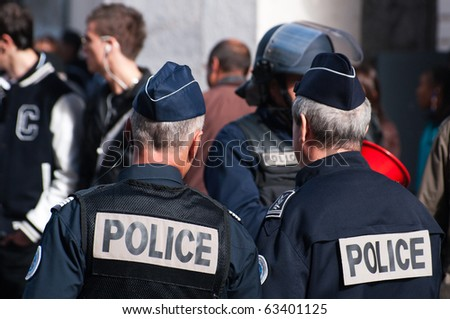 NICE, FRANCE - OCTOBER 16: French police control the street of nice during a  student  protest against school reform proposed by the french government, Nice the 16 of october 2010, France