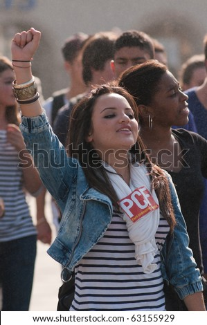 NICE, FRANCE - OCTOBER 16: French young student  protest against school reform proposed by the french government, Nice the 16 of october 2010, France - stock photo