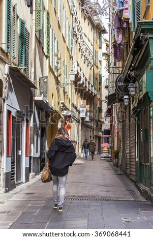 NICE, FRANCE - on JANUARY 7, 2016. The old city, typical narrow street