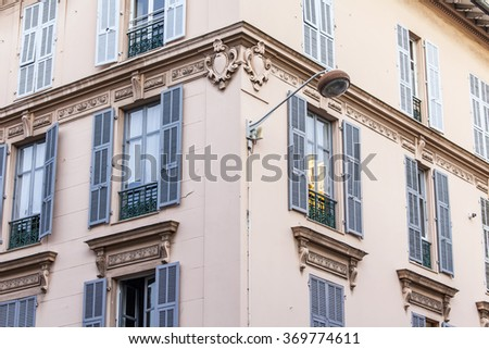 NICE, FRANCE - on JANUARY 8, 2016. Typical architectural details, characteristic for city building of the XIX century