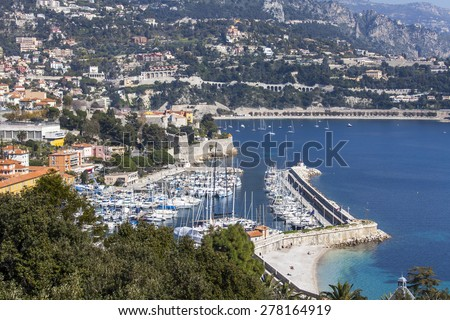 Nice, France, on March 10, 2015. A view of a sea bay and the yacht at the coast in the suburb of Nice Vilfransh Sur Mer