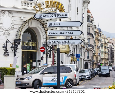 Nice, France, on March 14, 2015. Navigation elements on the city street - stock photo