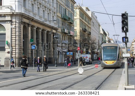 Nice, France, on March 13, 2015. The high-speed tram goes down the street Jean Madsen