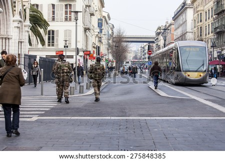 Nice, France, on March 7, 2015. The high-speed tram goes on Jean Madsen Avenue