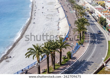 Nice, France, on March 13, 2015. The top view on Promenade des Anglais, one of the most beautiful embankments of Europe - stock photo