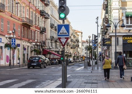 Nice, France, on March 7, 2015. Typical city landscape in the spring afternoon