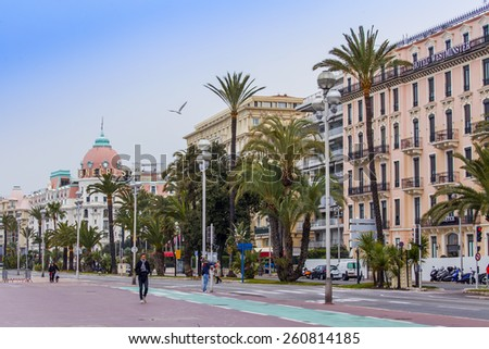 Nice, France, on March 14, 2015. Typical urban view. English promenade, one of the most beautiful embankments of the world - stock photo