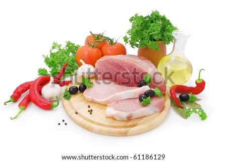 nice fresh meat, greens, spices and vegetables isolated on white background - stock photo