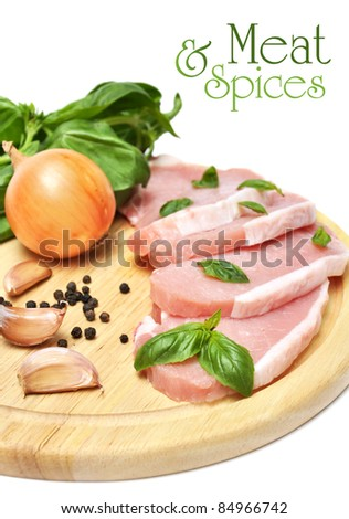 nice fresh meat, spices and greens on white background - stock photo