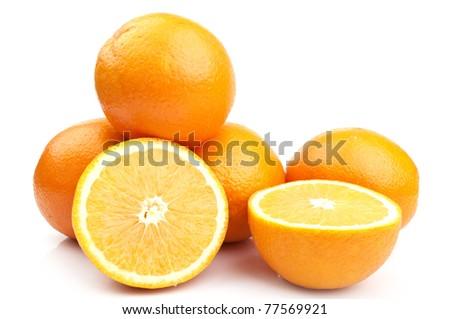 nice fresh orange isolated on a white background - stock photo