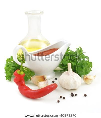 nice fresh sauce ingredients isolated on white background - stock photo