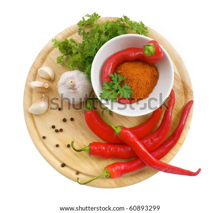 nice fresh spices isolated on white background - stock photo