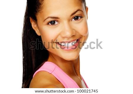 Nice friendly smile portrait of a hispanic woman isolated on white - stock photo