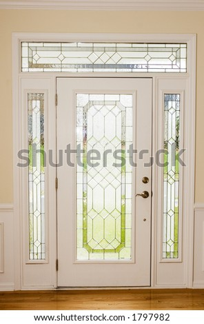 nice front door from interior view stock photo
