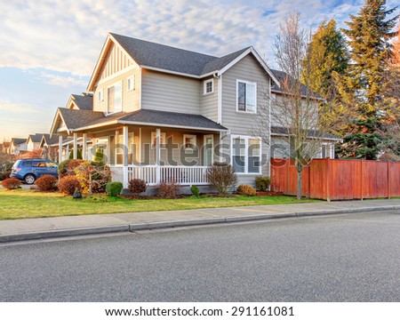 nice front yard with porch and walkway.nice front yard with porch. - stock photo