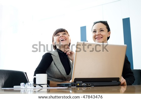 Nice girl and women in glasses - stock photo