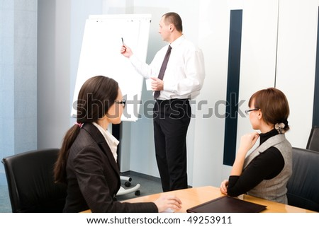 Nice girl and women with men with pen - stock photo