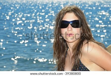 Nice girl at the beach II - stock photo